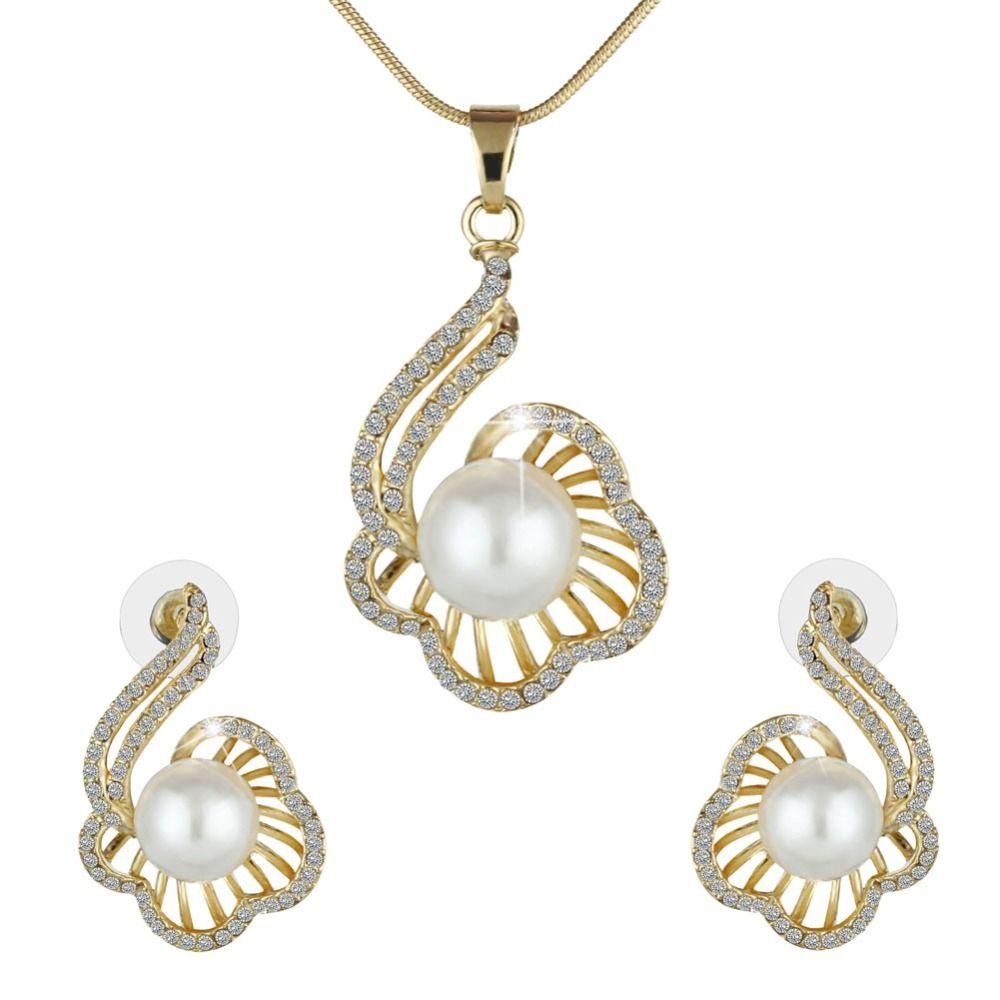 Turkish jewelry woman imitation pearl wedding jewelry set flower