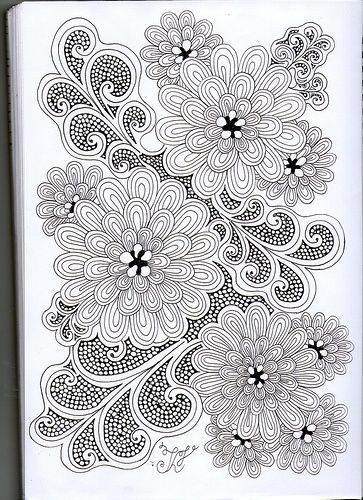Flores Zentangle Mandala Disegni Zen Arte Y Calligrafia