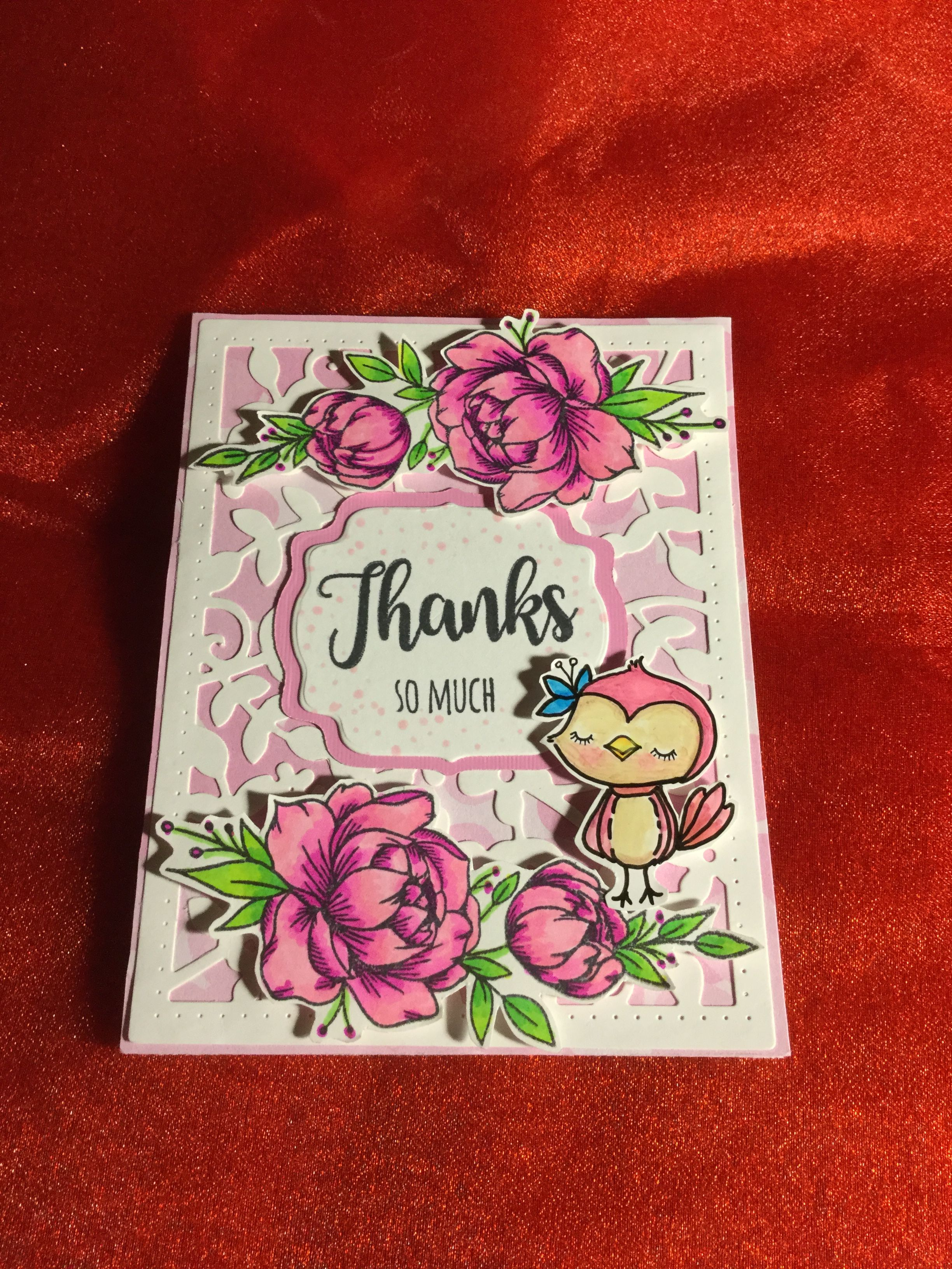 thank you card in shades of pink  cards handmade card