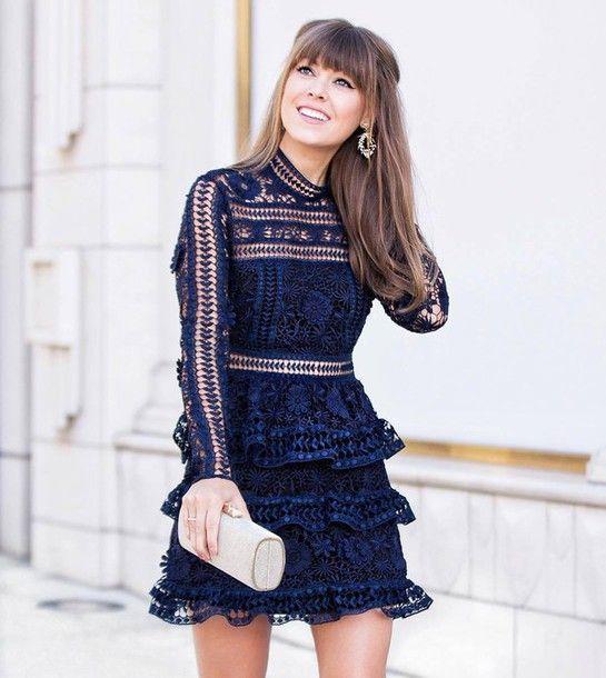 Dress: tumblr blue mini ruffle ruffle long sleeves long