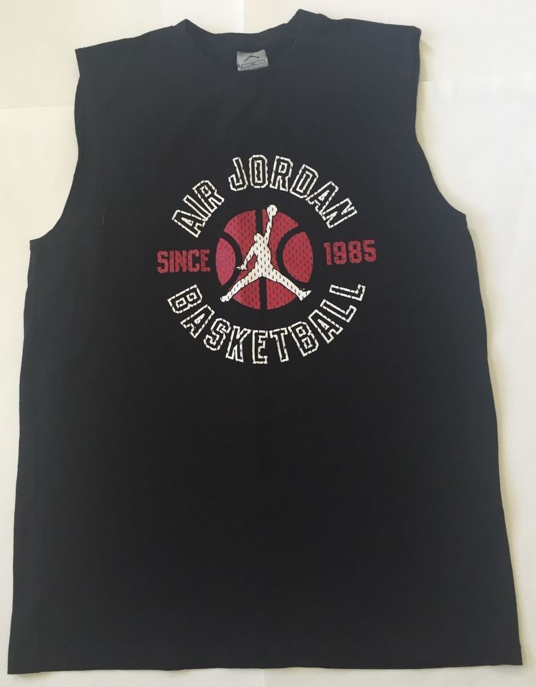 6dddef2e282e68 Air Jordan Black Muscle Tank Top Tee Shirt XL Basketball Michael Sleeveless