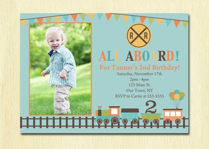 Train Second Boys Birthday Invitation Template Printable 2th Design