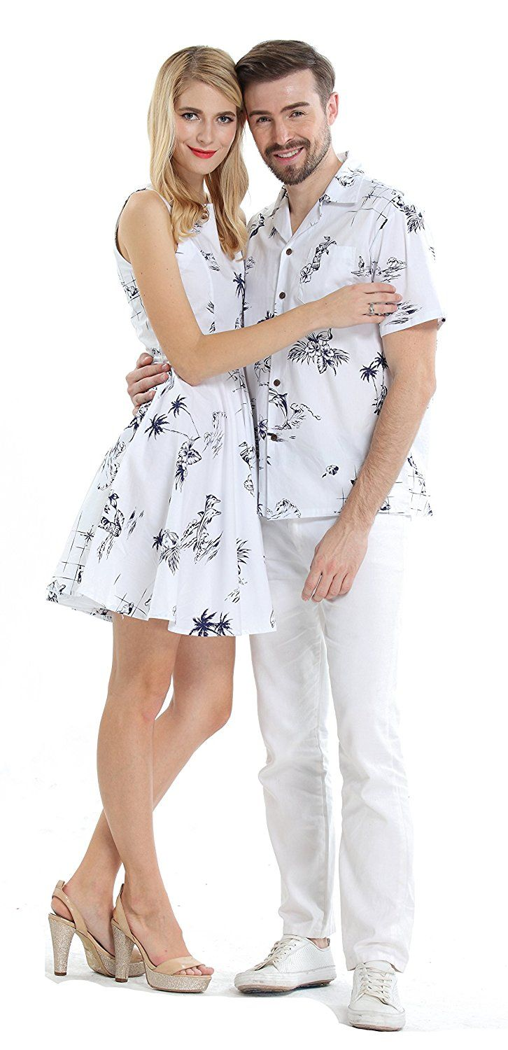 Couple Matching Hawaiian Luau Cruise Outfit Shirt Vintage Dress Classic White At Amazon Men S Clothi Cute Couple Outfits Couple Outfits Matching Couple Outfits