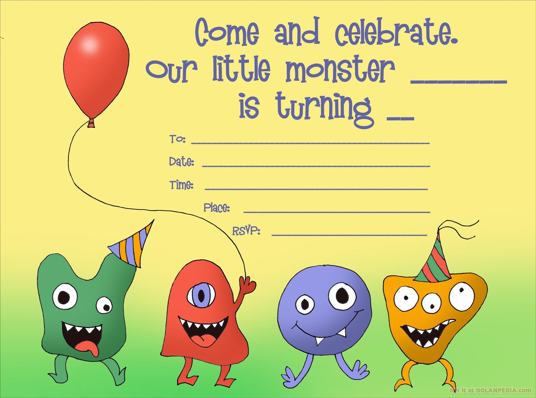 Cool Little Monsters Birthday Invitation Template Invitation Card Birthday Monster Birthday Invitations Happy Birthday Invitation Card