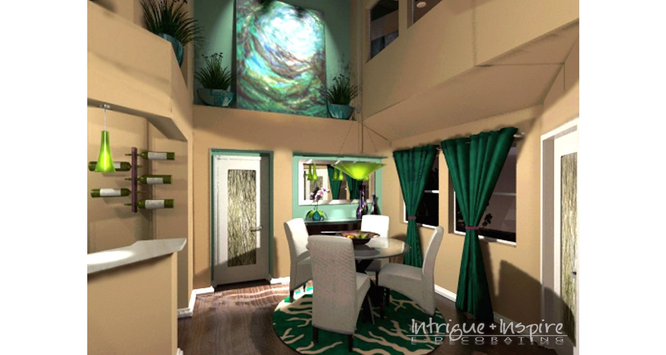 Our contemporary e-decorating 3-D perspective for a condo dining room in RSM, CA.  www.intrigueandinspireedecor.com