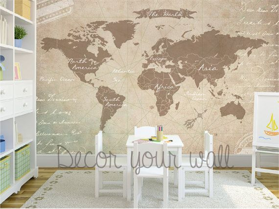 Self adhesive wallpaper removable wallpaper world map wall mural self adhesive wallpaper removable wallpaper world map wall mural gumiabroncs Image collections
