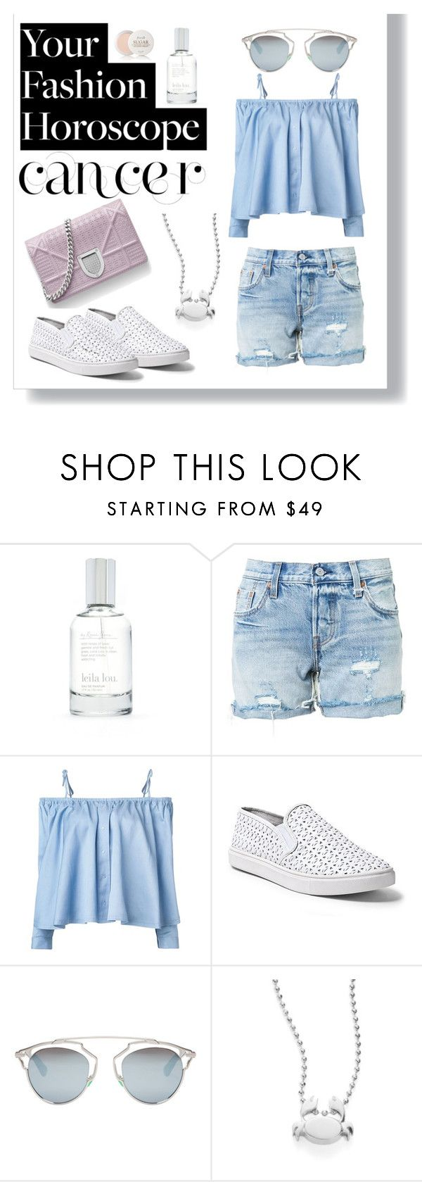 """Fashion Horoscope -Cancer"" by juliamella on Polyvore featuring Splendid, Levi's, Sandy Liang, Steve Madden, Christian Dior, Alex Woo and Fresh"