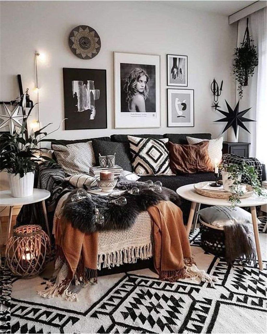 34 The Best Rustic Bohemian Living Room Decor Ideas In 2020 Bohemian Living Room Decor Black And White Living Room Decor Black And White Living Room