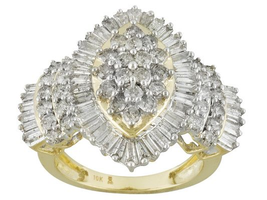Diamond 2.00ctw Round And Baguette 10k Yellow Gold Cluster Ring