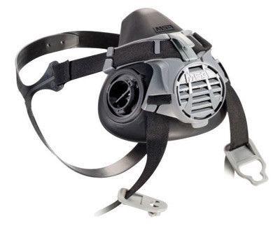 MSA Large Black Liquid Silicone/Nylon Advantage 420 Half Mask Respirator With Elastic Strap, (2) Inhalation Valves And Exhalation Valve