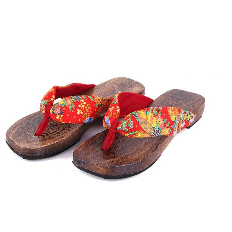 Women's Slippers Lady Wooden Clogs Slip-On Sandal Japanese Style