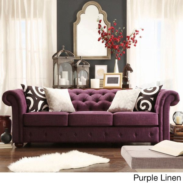 Chesterfield Tufted Scroll Arm Sofa by Tribecca Home (Red Linen Sofa