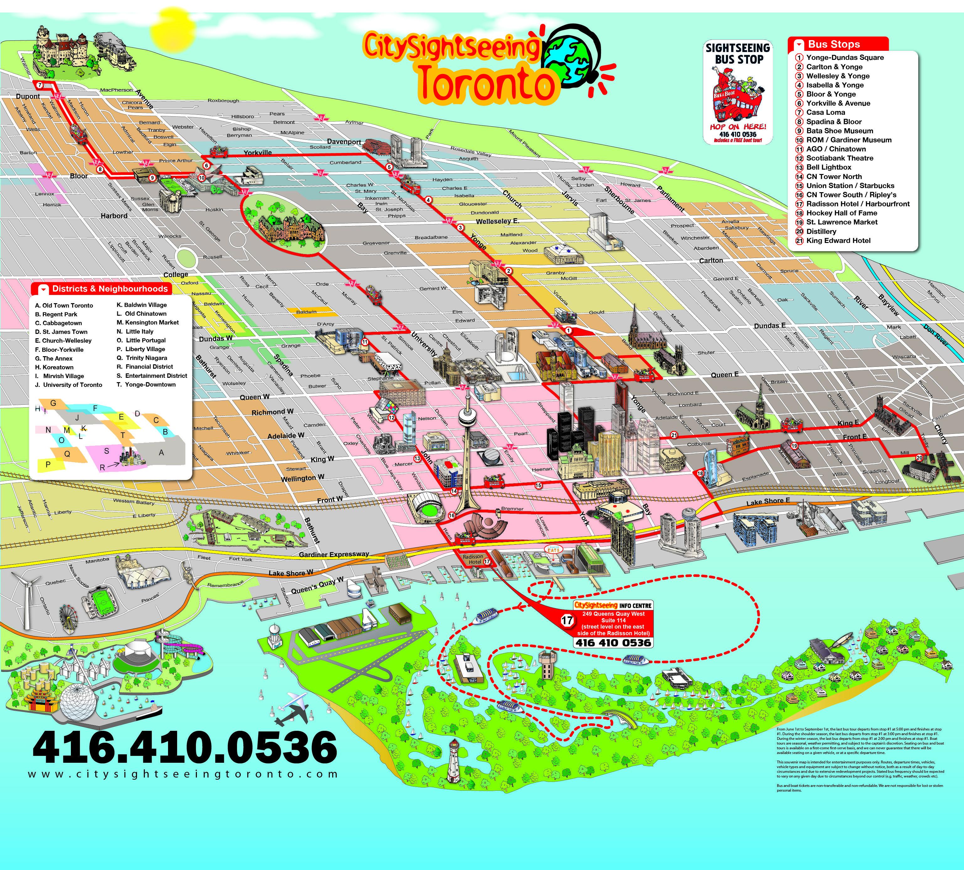 toronto sightseeing map