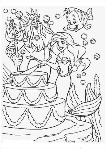A Party For Ariel Coloring Page Ariel Coloring Pages Happy Birthday Coloring Pages Disney Coloring Pages