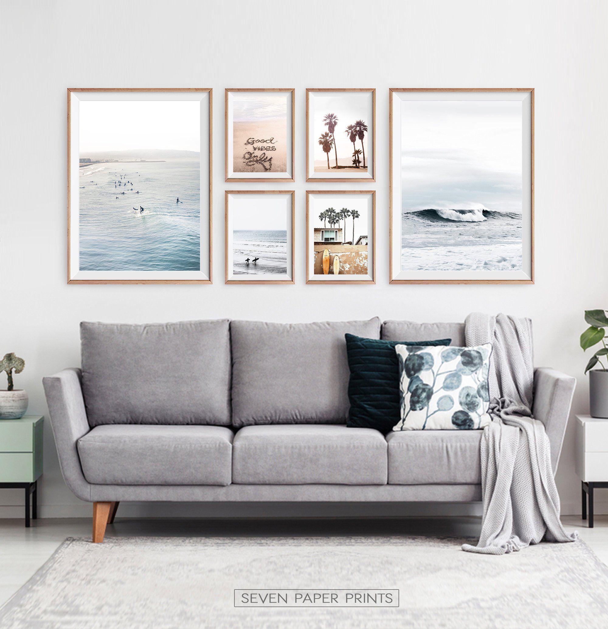 Ocean Wall Art Surfing Decor. Summer Beach Set with California | Etsy