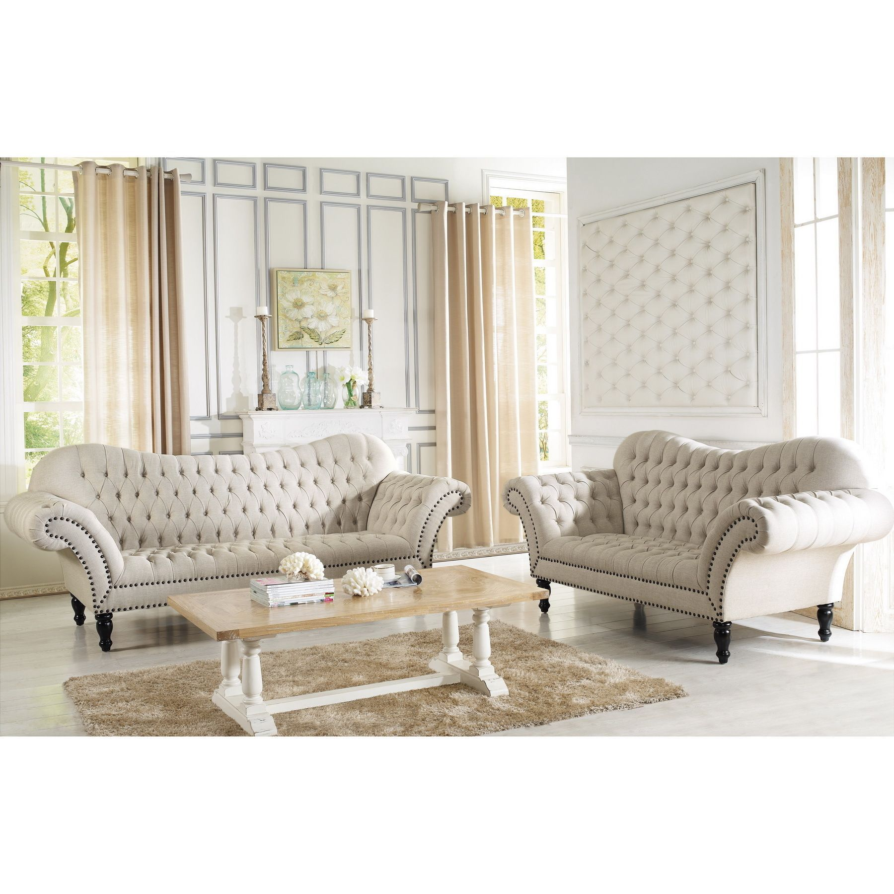 Baxton Studio Bostwick Beige Linen Classic Victorian Sofa Set   Overstock™  Shopping   Big Discounts On Baxton Studio Living Room Sets Part 86