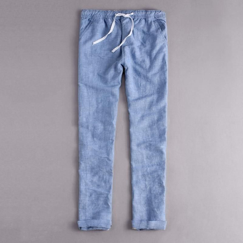 07931f6b3d2 Italy Style Brand clothing fashion Loose waist long Pants men Casual blue trousers  men cotton and
