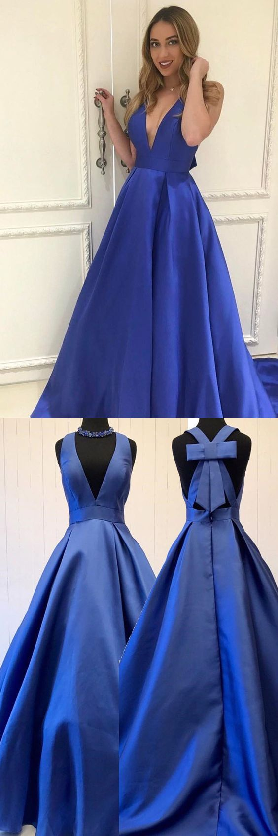 A line blue vneck long prom dresses with open backed in