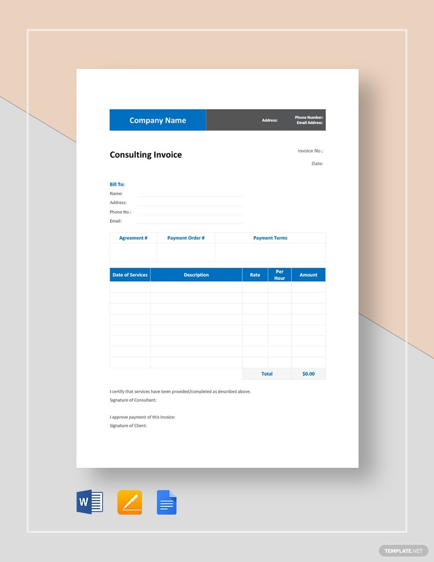 Consulting Invoice | Coaching invoice | Invoice template