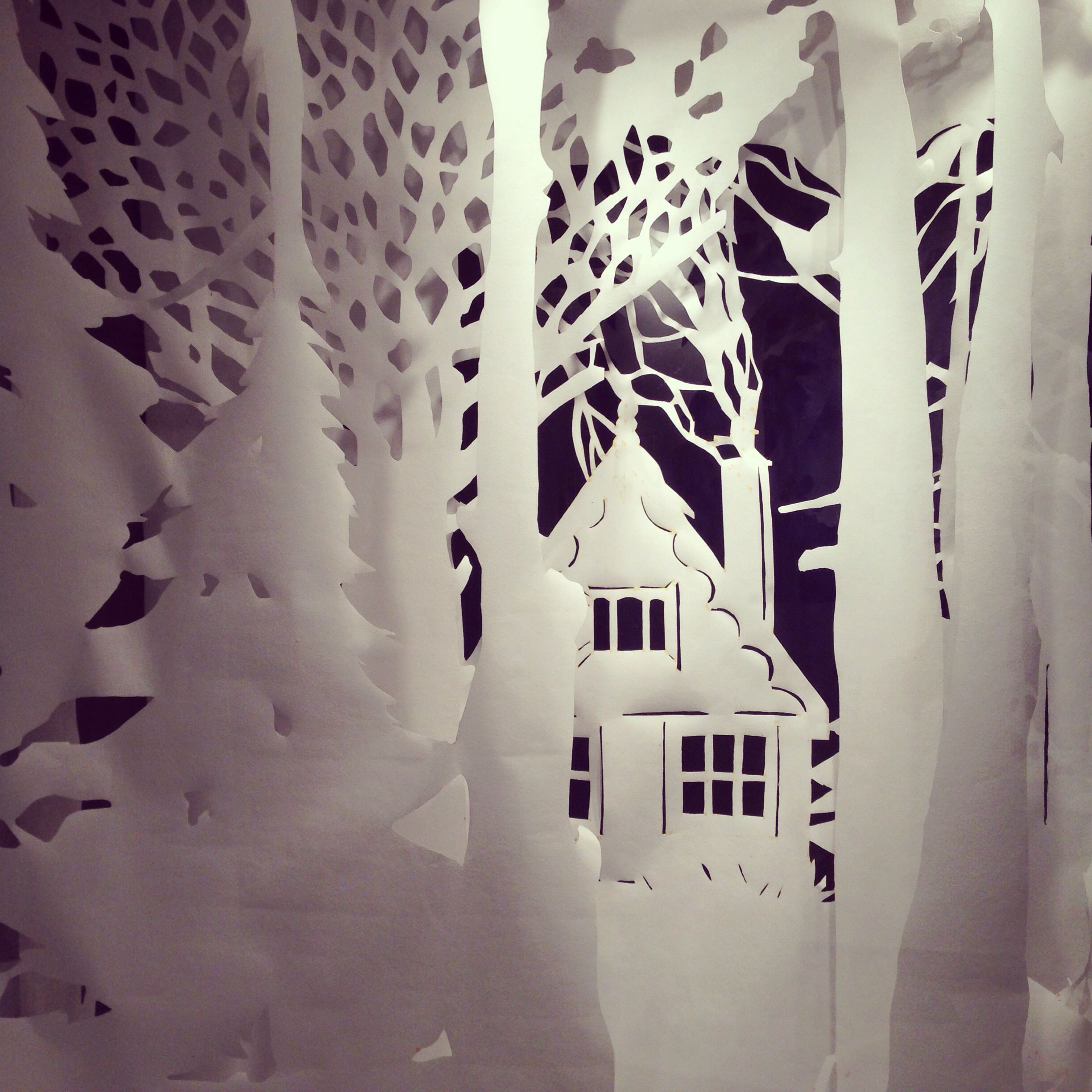 Amazing large-scale papercut retail window display at