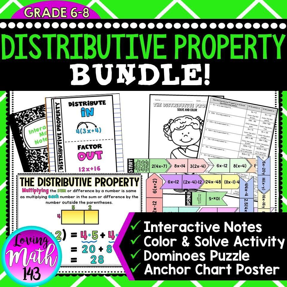 The Distributive Property Poster Notes And 2 Activities Bundle Math Interactive Notebook Fun Math Activities Maths Activities Middle School [ 960 x 960 Pixel ]