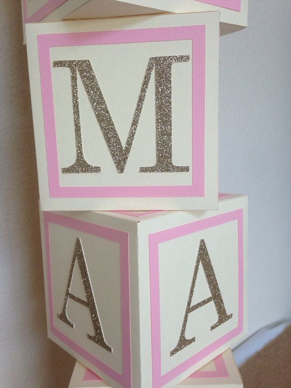 Custom Alphabet Block Baby Shower Centerpiece Baby