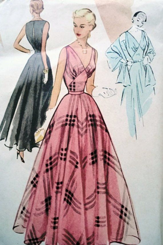 1950s EVENING PARTY Dress McCall 8437 Gown, Slip and Stole Figure Flattering Design Vintage Sewing Pattern Low V Neckline Bust 36 -   25 diy dress party
