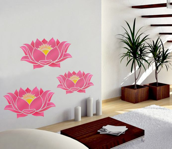 Lotus Kit, Size Small And Large Pattern Wall Stencil Home Decor