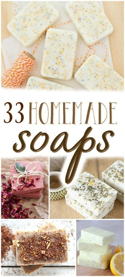 33 homemade natural soap recipes for sharing with your friends and family this holiday season.