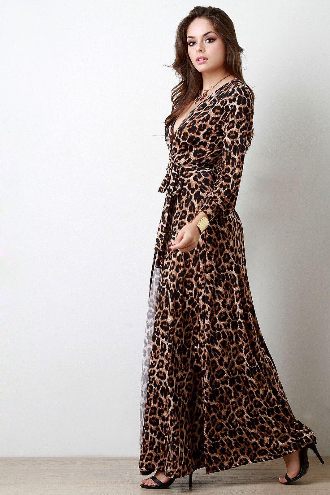 Safari leopard surplice longsleeve maxi dress products