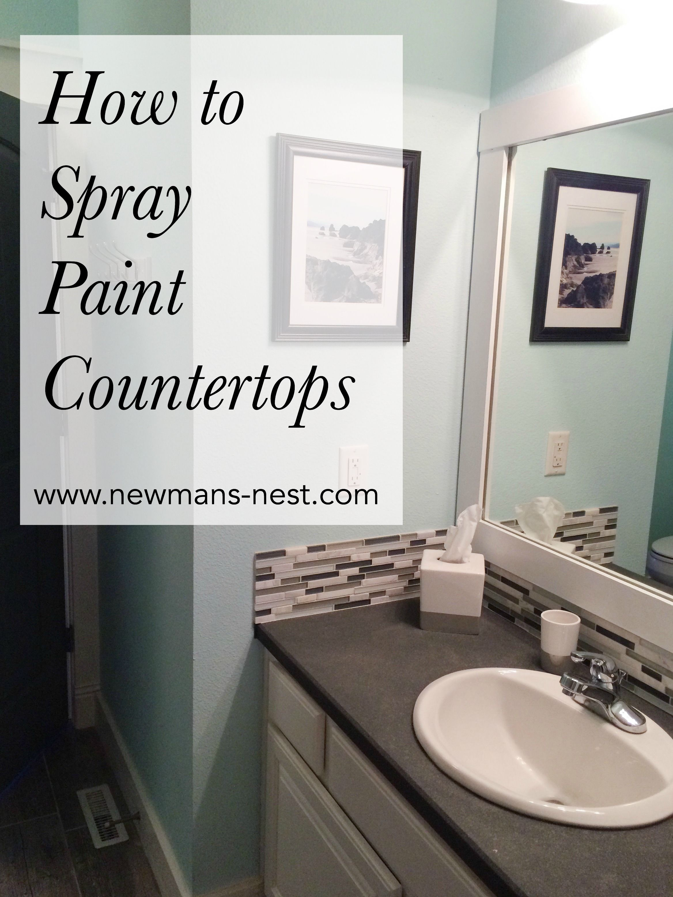 How to paint bathroom countertops - For Our Guest Bathroom I Wanted An Inexpensive Upgrade That Would Completely Change The Current Painting Bathroom Countertopspaint