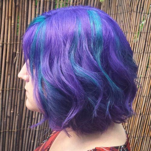 Purple Hair With Blue Streaks Hair Colors Ideas Purple Hair Hair Color Streaks Rainbow Hair Color