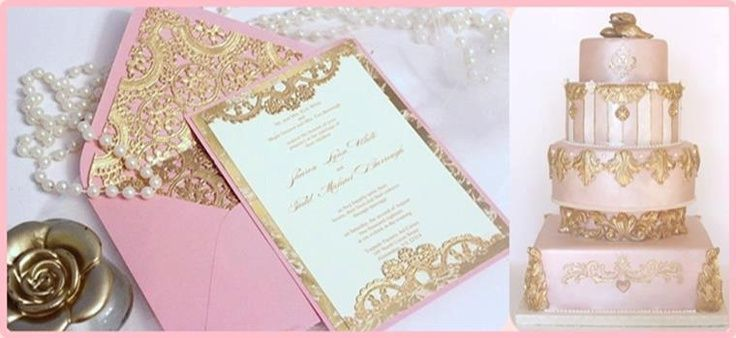 Pink Gold Invitations Debut Pinterest – Gold and Pink Wedding Invitations