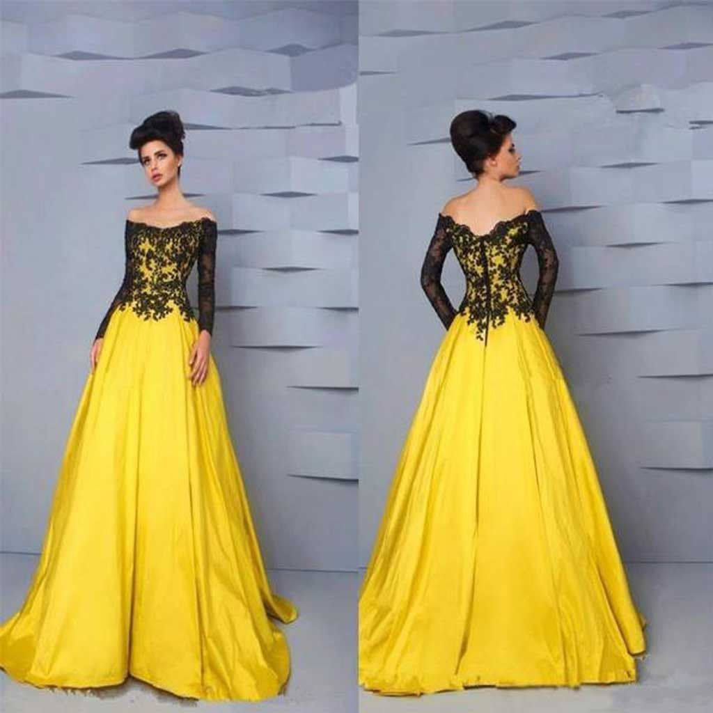 90a8db2fc3d1 Off Shoulder Long Sleeve Black Lace Top Long A-line Yellow Satin Prom  Dresses