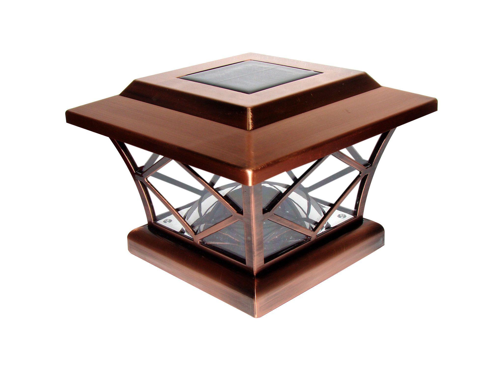 Copper Solar Post Cap With Diamond Design In Window Fence
