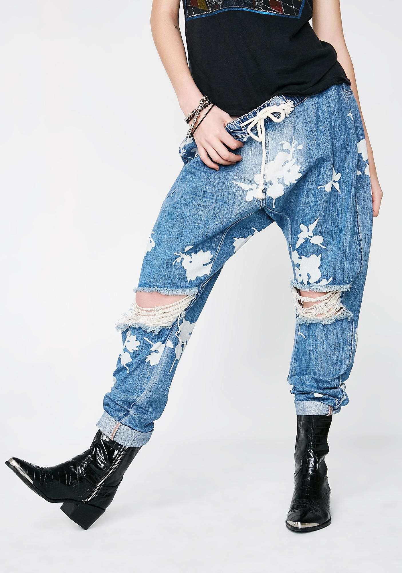 d1f99b285bd One Teaspoon Shabbies Drawstring Boyfriend Jeans cuz you ain't too shabby.  Chill with these boyfriend jeans that have distressed details N' a floral  print ...