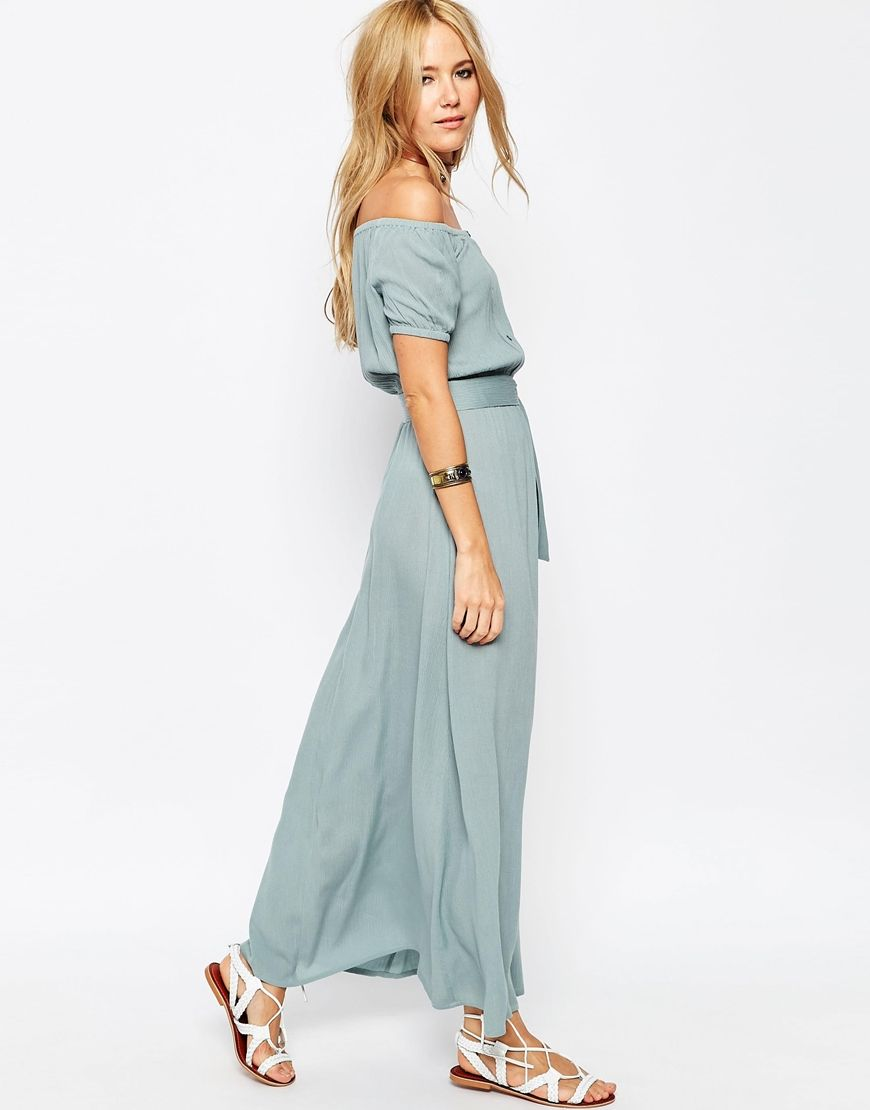 Asos Womens Maxi Dress In Rib With Off Shoulder Camel - Dresses