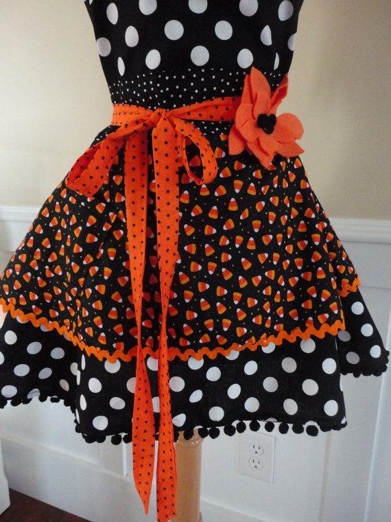 Halloween Schort.Candy Corn Anyone Women S Half Halloween Apron Diy Apron Halloween Apron Orange Fabric