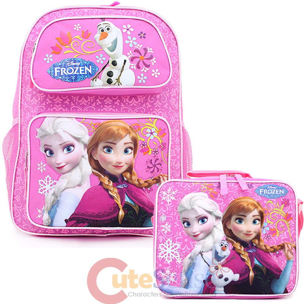 Disney Princess Large School Backpack Lunch Bag 2pc Set Black Pink Floral