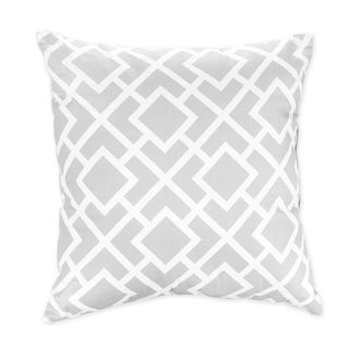 Sweet JoJo Designs Gray And White Diamond Decorative Throw Pillow, $23 For  16x16 Cover +