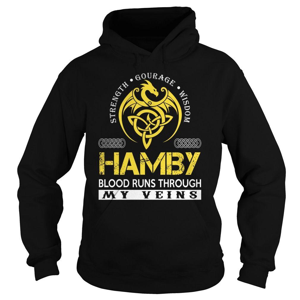 HAMBY Blood Runs Through My Veins (Dragon) - Last Name, Surname T-Shirt