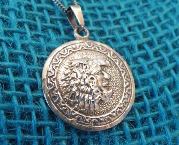Hecho En Mexico Aztec Warrior Sterling Pendant & Chain PNM