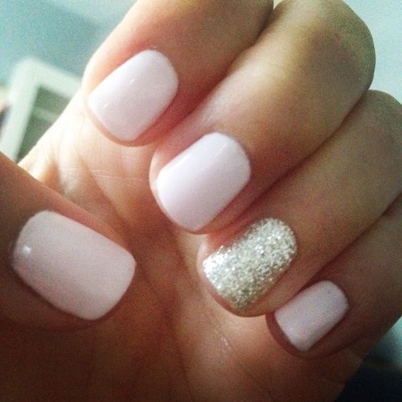 Light Pink And Gold Glitter Gel Mani Pink Nails Nails Manicure