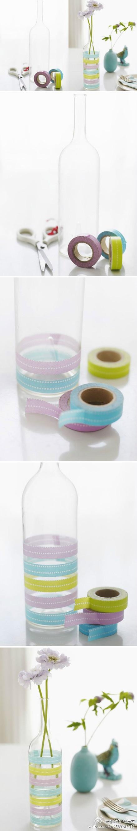Washi Tape Vase! This looks so cool! Easy and cute ordinary vase transformation! #washitapevase #cutevaseidea #uniquevaseidea