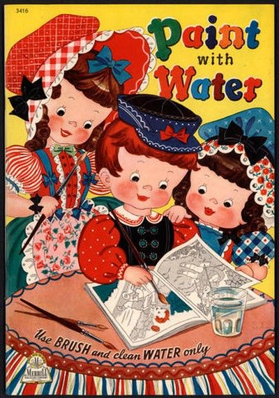 """1943 """"PAINT WITH WATER"""" Uncolored - Merrill Publishing ..."""