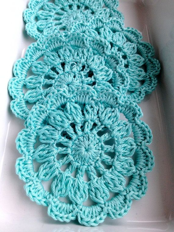 4 pieces turquoise blue crochet coaster set in a by bidesign, $12.00