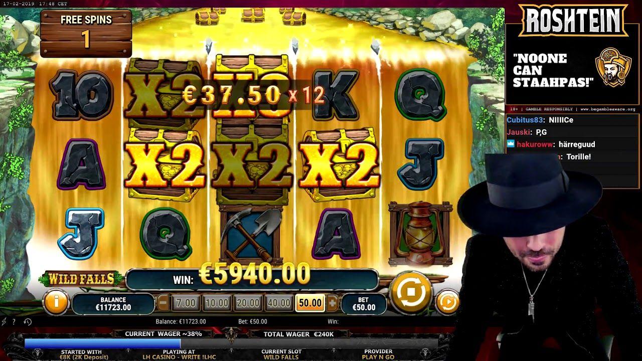Wild Falls Slot BIG WIN Bonus Game 22042 50 EUR Video
