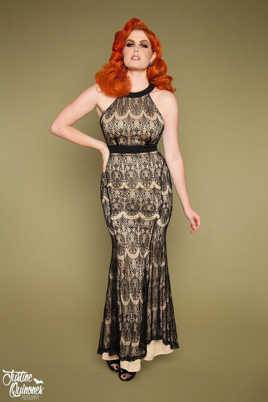 Blackcream lace long dress dresses pinterest lace long