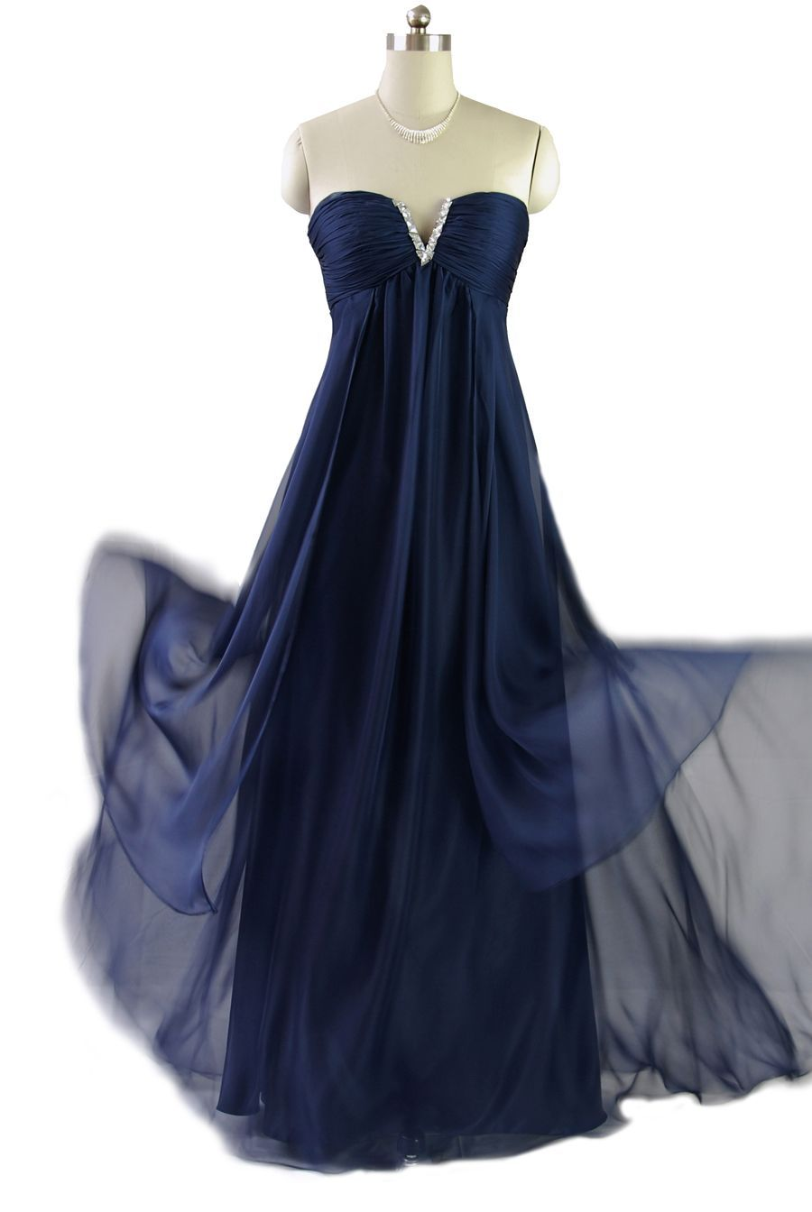 Qpid showgirl midnight blue strapless maxi gown evening dress prom