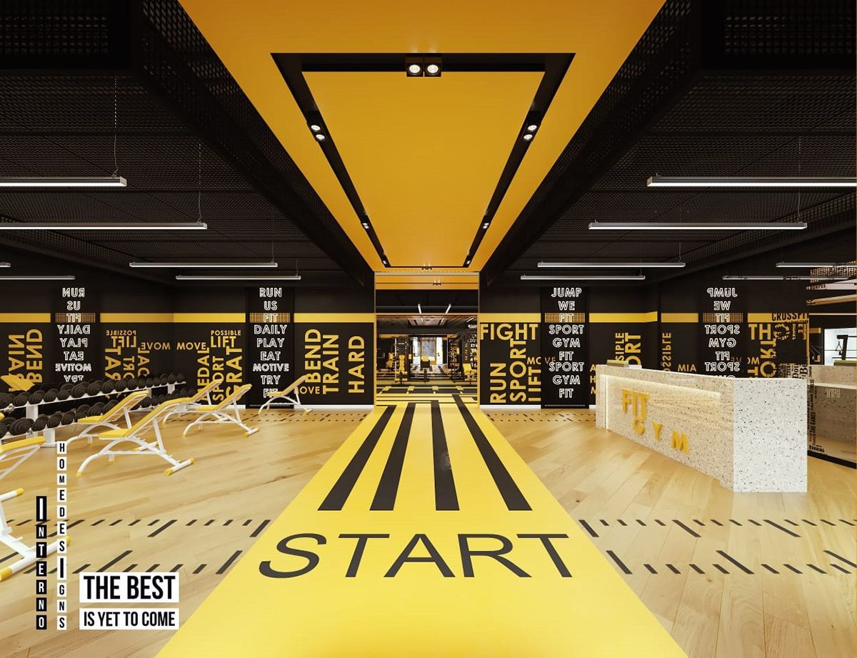 Black Yellow Gym On Behance Salas De Treinamento Decoracao De Academia Sala De Ginastica Em Casa